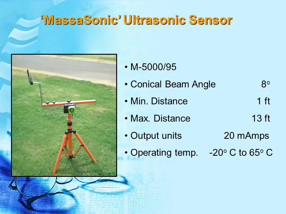 M-5000/95 Conical Beam Angle 8 o Min. Distance 1 ft Max. Distance 13 ft Output units 20 mAmps Operating temp. -20 o C to 65 o C 'MassaSonic' Ultrasoni