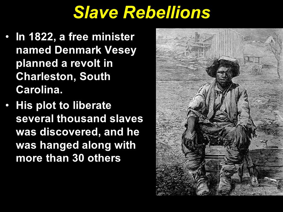 Slave Rebellions In 1822, a free minister named Denmark Vesey planned a revolt in Charleston, South Carolina.