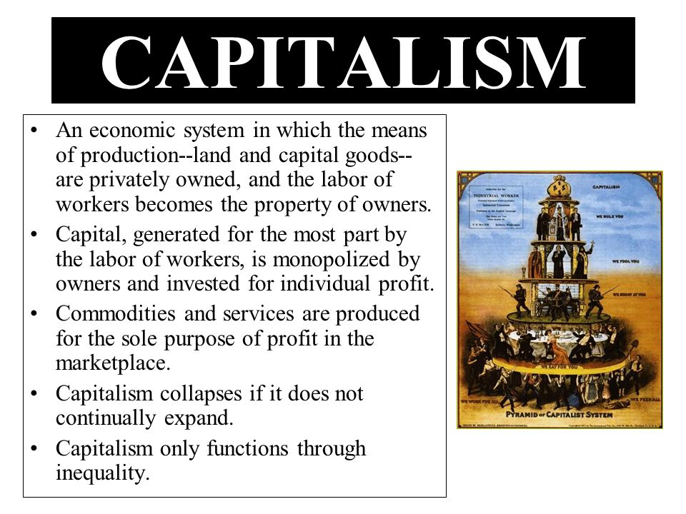 An economic system in which the means of production--land and capital goods-- are privately owned, and the labor of workers becomes the property of ow