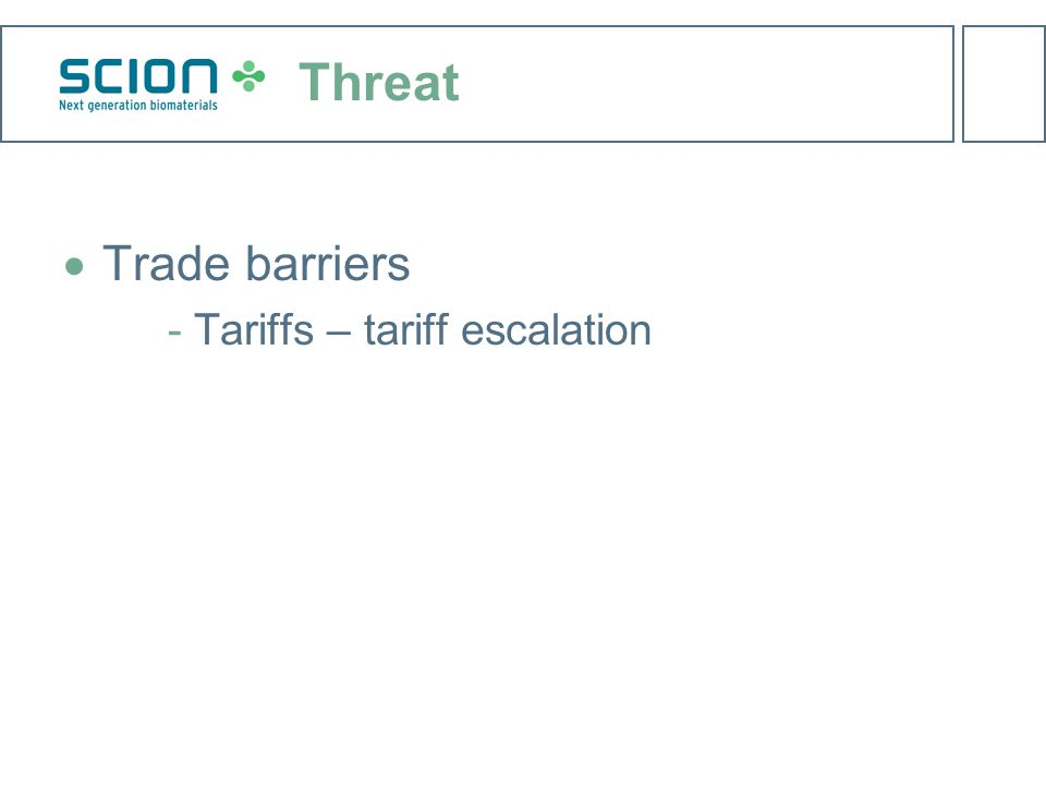 Threat  Trade barriers Tariffs – tariff escalation