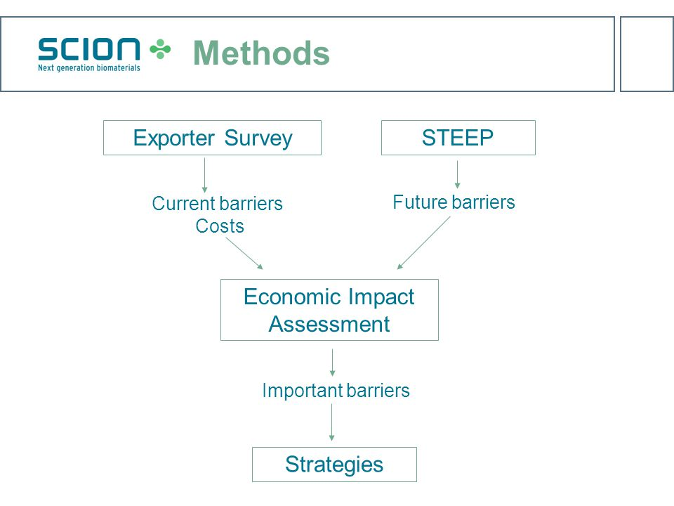 Methods Exporter Survey Current barriers Costs Economic Impact Assessment Important barriers STEEP Future barriers Strategies