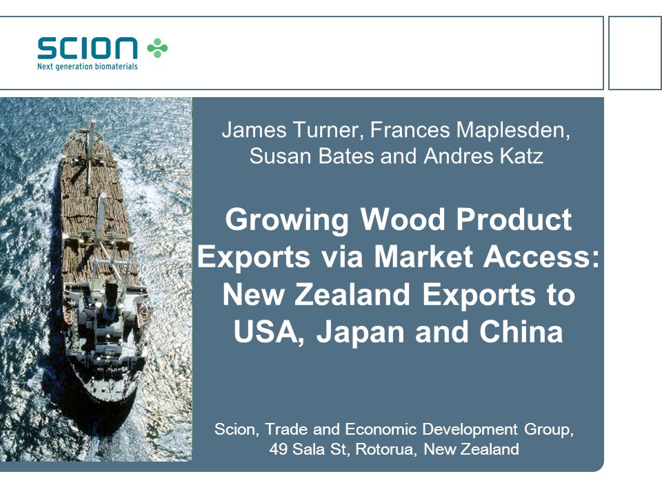 Aim of Work To understand potential changes in New Zealand's value-added export market environment, the technical barriers and opportunities likely to arise, and the responses required to enable export growth