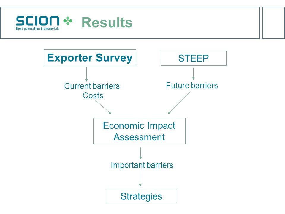 Exporter Survey Current barriers Costs Economic Impact Assessment Important barriers STEEP Future barriers Strategies