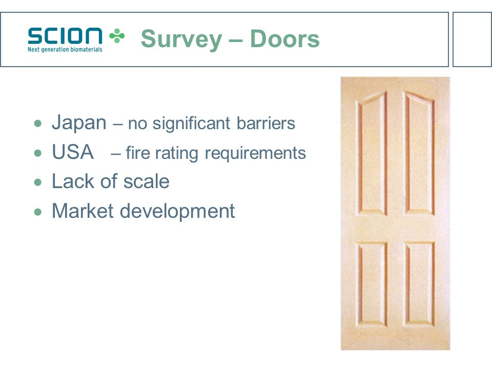 Survey – Doors  Japan – no significant barriers  USA – fire rating requirements  Lack of scale  Market development