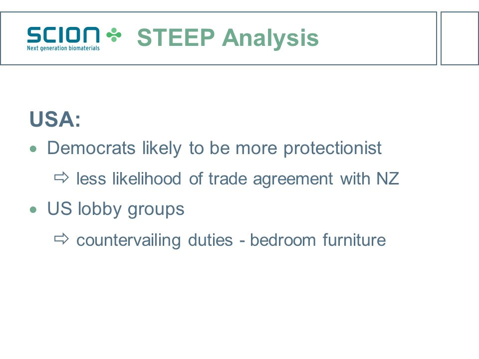 STEEP Analysis USA:  Democrats likely to be more protectionist  less likelihood of trade agreement with NZ  US lobby groups  countervailing duties - bedroom furniture