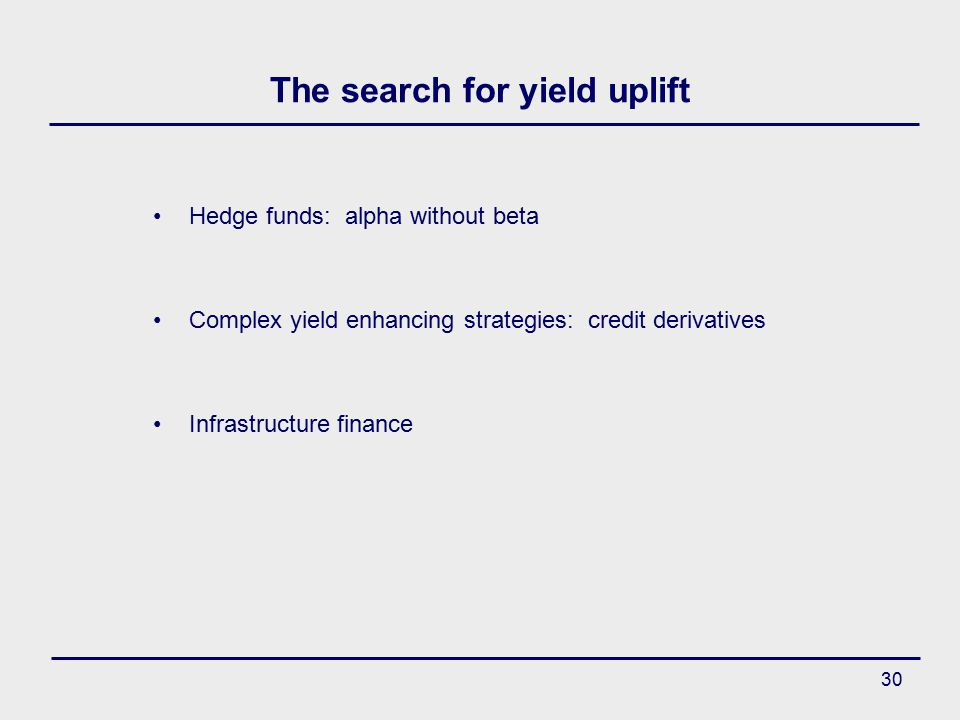 30 The search for yield uplift Hedge funds: alpha without beta Complex yield enhancing strategies: credit derivatives Infrastructure finance