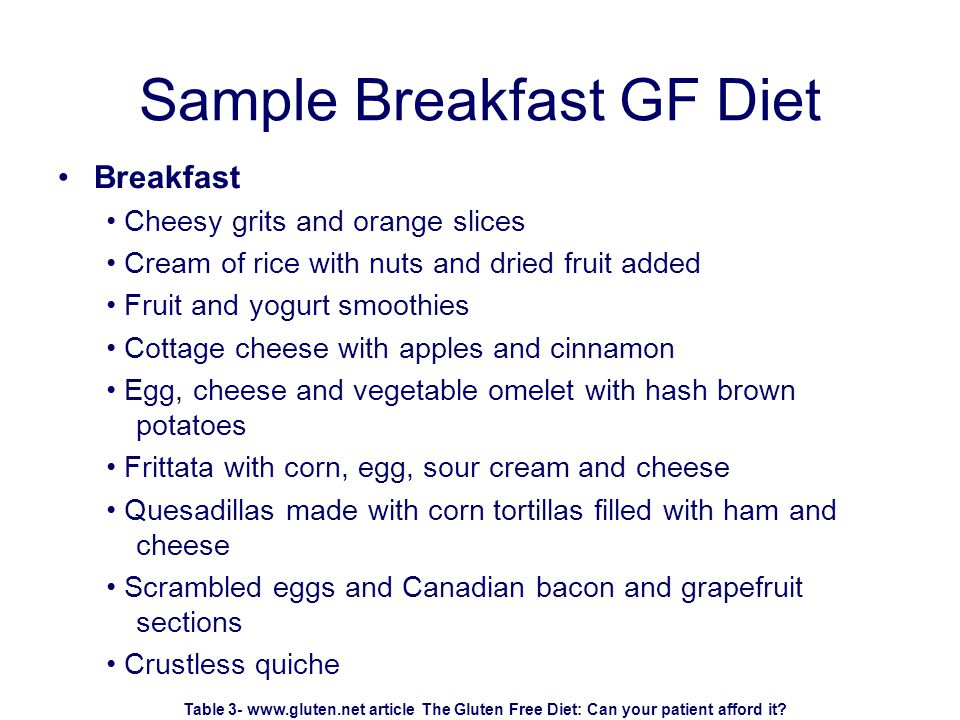 Sample Breakfast GF Diet Breakfast Cheesy grits and orange slices Cream of rice with nuts and dried fruit added Fruit and yogurt smoothies Cottage cheese with apples and cinnamon Egg, cheese and vegetable omelet with hash brown potatoes Frittata with corn, egg, sour cream and cheese Quesadillas made with corn tortillas filled with ham and cheese Scrambled eggs and Canadian bacon and grapefruit sections Crustless quiche Table 3- www.gluten.net article The Gluten Free Diet: Can your patient afford it