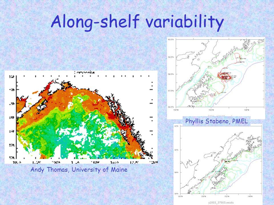 Along-shelf variability Andy Thomas, University of Maine Phyllis Stabeno, PMEL