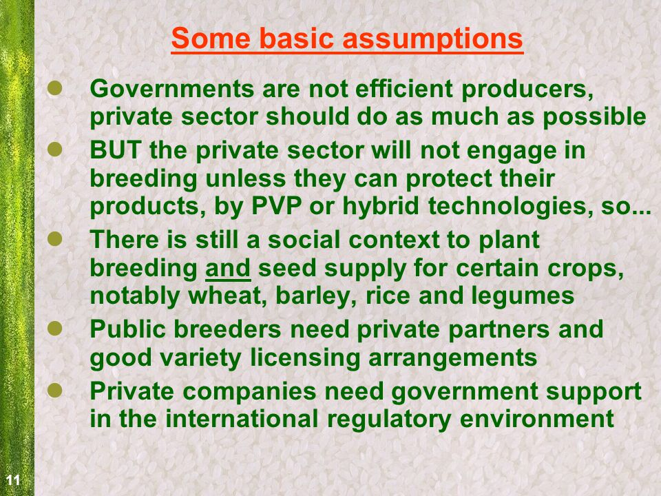 11 Some basic assumptions Governments are not efficient producers, private sector should do as much as possible BUT the private sector will not engage in breeding unless they can protect their products, by PVP or hybrid technologies, so...