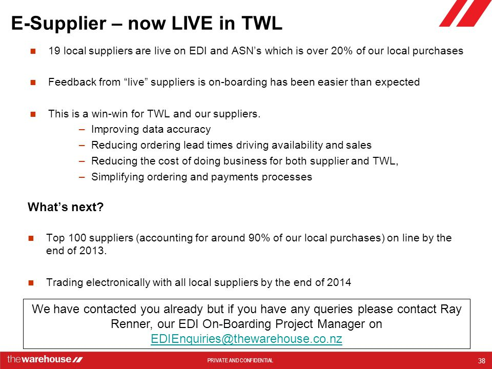 PRIVATE AND CONFIDENTIAL E-Supplier – now LIVE in TWL 19 local suppliers are live on EDI and ASN's which is over 20% of our local purchases Feedback from live suppliers is on-boarding has been easier than expected This is a win-win for TWL and our suppliers.