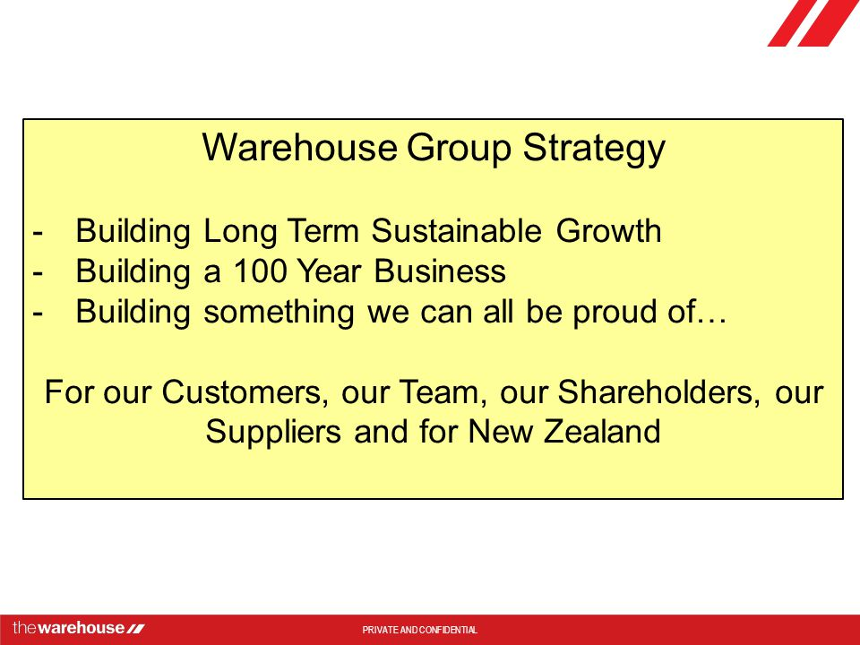 PRIVATE AND CONFIDENTIAL Warehouse Group Strategy -Building Long Term Sustainable Growth -Building a 100 Year Business -Building something we can all be proud of… For our Customers, our Team, our Shareholders, our Suppliers and for New Zealand