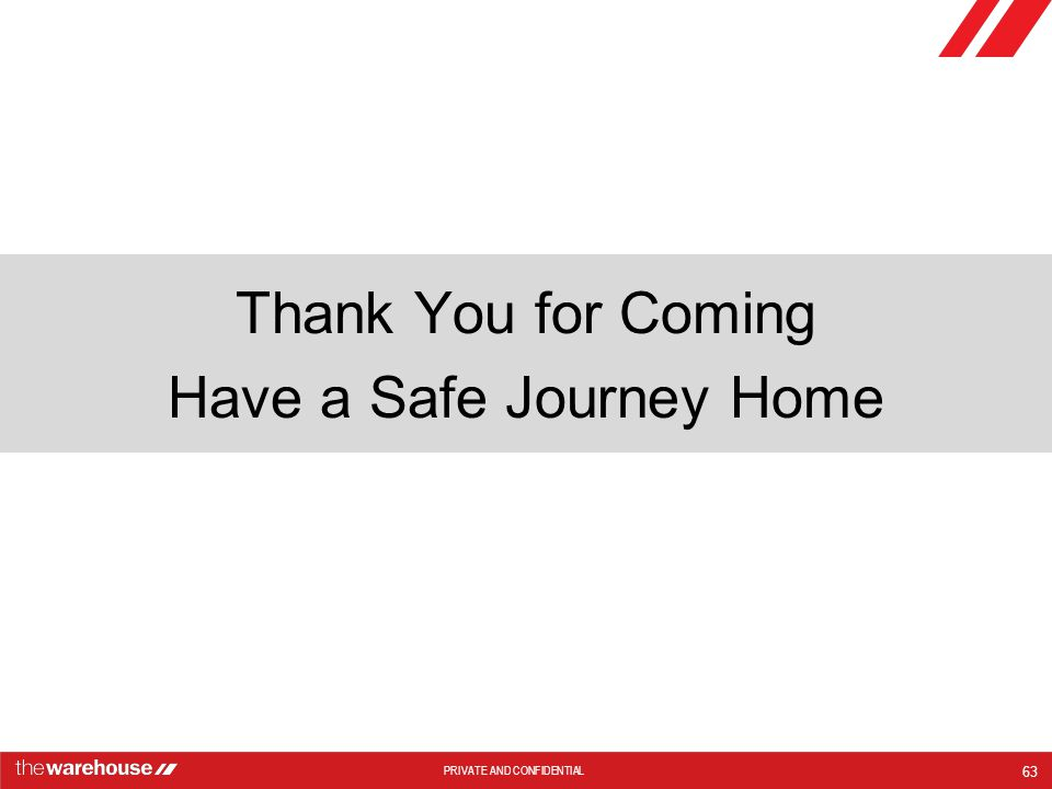 PRIVATE AND CONFIDENTIAL Thank You for Coming Have a Safe Journey Home 63