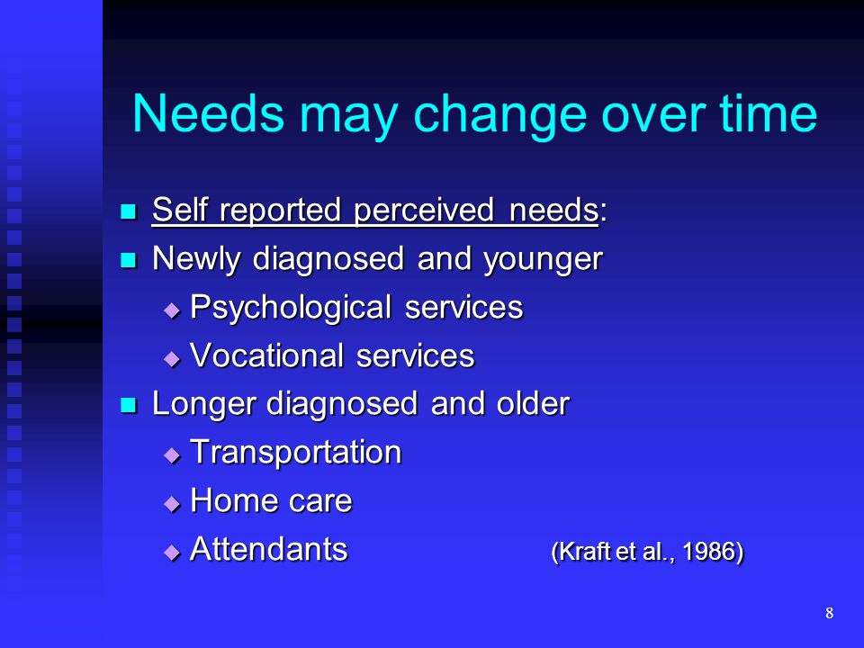 8 Needs may change over time Self reported perceived needs: Self reported perceived needs: Newly diagnosed and younger Newly diagnosed and younger  P