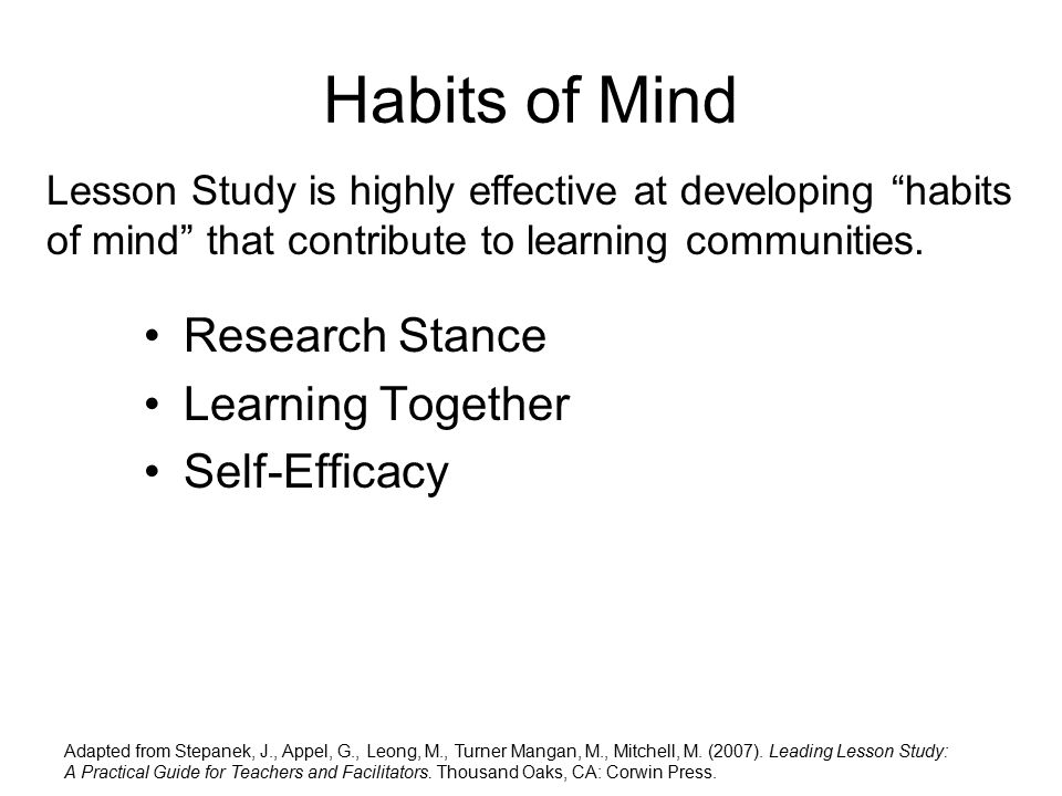 Habits of Mind Research Stance Learning Together Self-Efficacy Lesson Study is highly effective at developing habits of mind that contribute to learning communities.