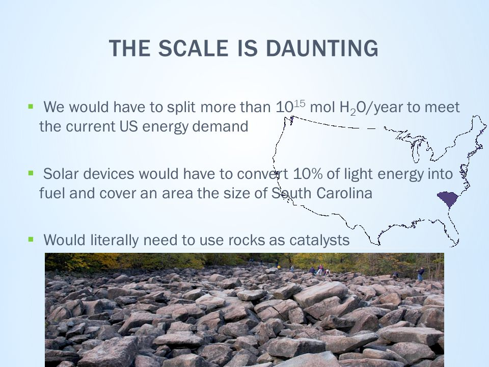 THE SCALE IS DAUNTING  We would have to split more than 10 15 mol H 2 O/year to meet the current US energy demand  Solar devices would have to convert 10% of light energy into fuel and cover an area the size of South Carolina  Would literally need to use rocks as catalysts