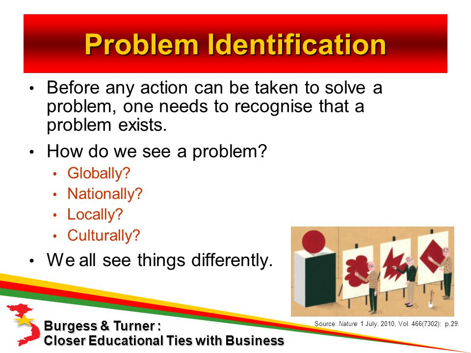 Before any action can be taken to solve a problem, one needs to recognise that a problem exists.