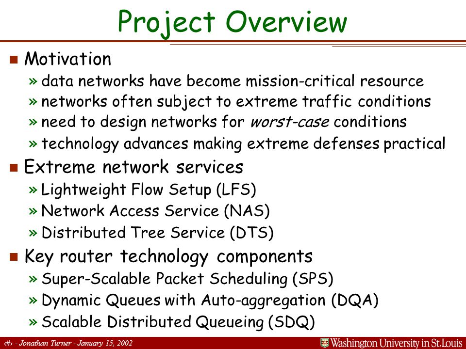 3 - Jonathan Turner - January 15, 2002 Extreme Router Architecture Control Processor Switch Fabric...