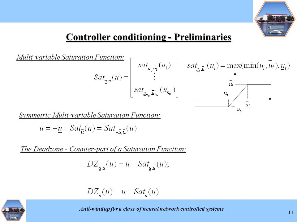 Anti-windup for a class of neural network controlled systems 11 Controller conditioning - Preliminaries Multi-variable Saturation Function: Symmetric Multi-variable Saturation Function: The Deadzone - Counter-part of a Saturation Function: