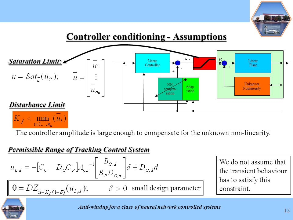 Anti-windup for a class of neural network controlled systems 12 Controller conditioning - Assumptions + NN compen- sation - Unknown Nonlinearity + + Linear Plant Linear Controller Adap- tation Saturation Limit: Disturbance Limit The controller amplitude is large enough to compensate for the unknown non-linearity.