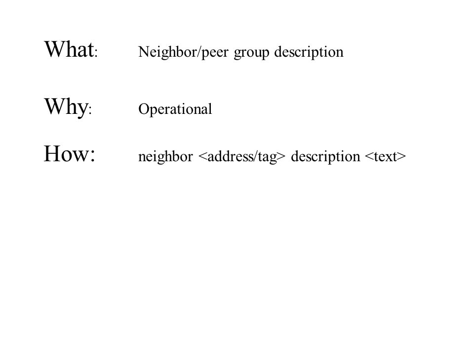 What : Neighbor/peer group description Why : Operational How: neighbor description