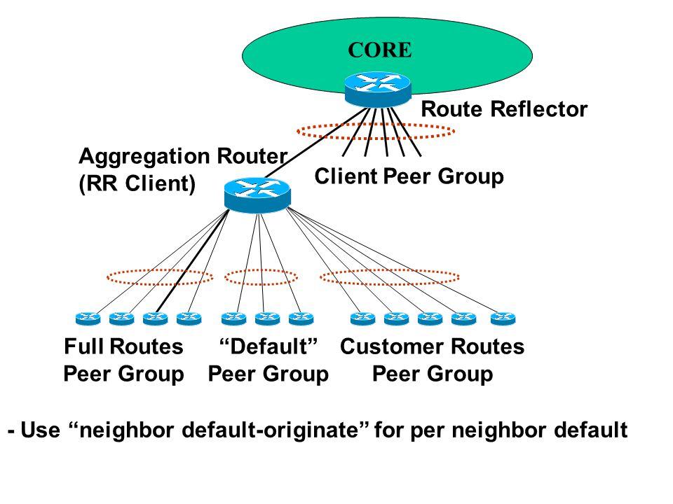 CORE Route Reflector Client Peer Group Aggregation Router (RR Client) Full Routes Peer Group Default Peer Group Customer Routes Peer Group - Use neighbor default-originate for per neighbor default