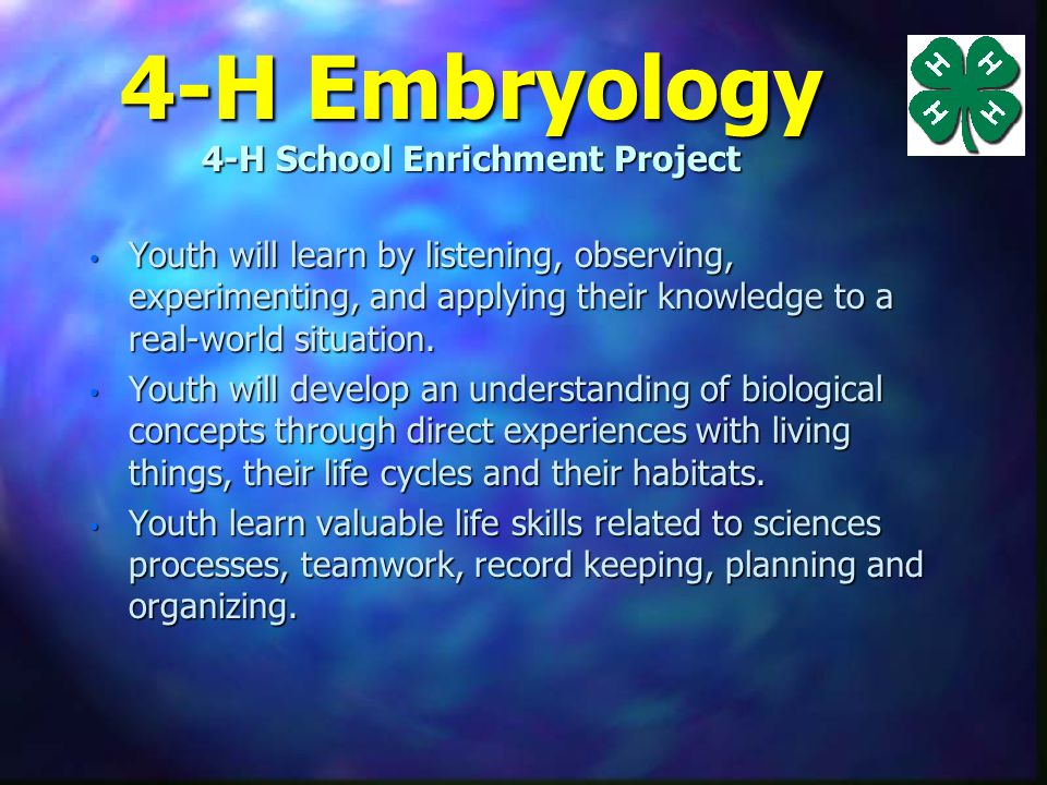 4-H Embryology 4-H School Enrichment Project n The objectives of the program are to teach students: to identify parts of an egg and explain their functions.