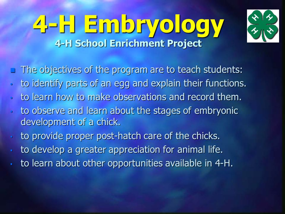 About the Project n Hands-on, Science Project n Correlated with National Science Standards n Extension provides educational resources for the project –Teacher Resource s with activity masters –4-H CCS Classroom Project Book grades 2-5 & 6-8 –Informational powerpoint and support –WWW Sites for activities and resources