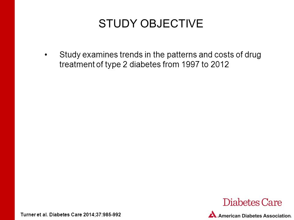 STUDY OBJECTIVE Study examines trends in the patterns and costs of drug treatment of type 2 diabetes from 1997 to 2012 Turner et al.