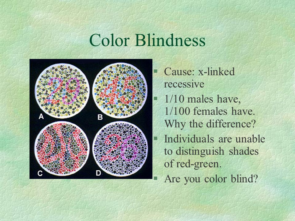 Color Blindness §Cause: x-linked recessive §1/10 males have, 1/100 females have.
