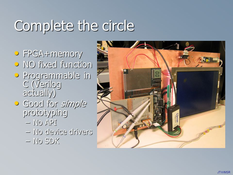 JTW/MSR Complete the circle FPGA+memory FPGA+memory NO fixed function NO fixed function Programmable in C (Verilog actually) Programmable in C (Verilog actually) Good for simple prototyping Good for simple prototyping –No API –No device drivers –No SDK