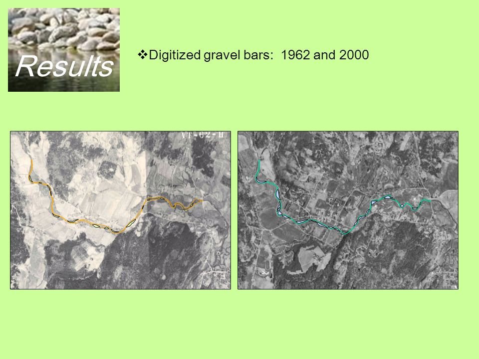 Results 1962: larger area, shorter length, moderate meanders, less gravel bars, smaller area of gravel bars.