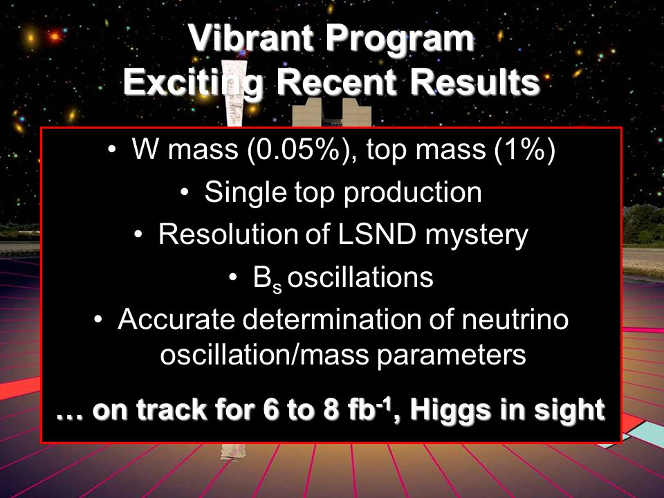 Vibrant Program Exciting Recent Results W mass (0.05%), top mass (1%) Single top production Resolution of LSND mystery B s oscillations Accurate determination of neutrino oscillation/mass parameters … on track for 6 to 8 fb -1, Higgs in sight