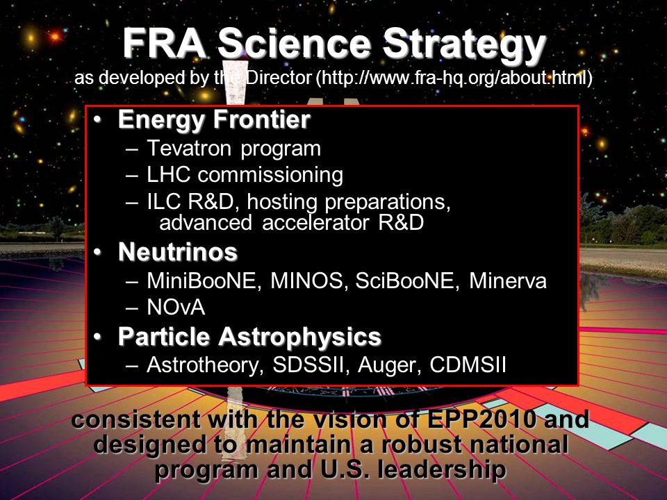 FRA in Support of Fermilab and U.S.