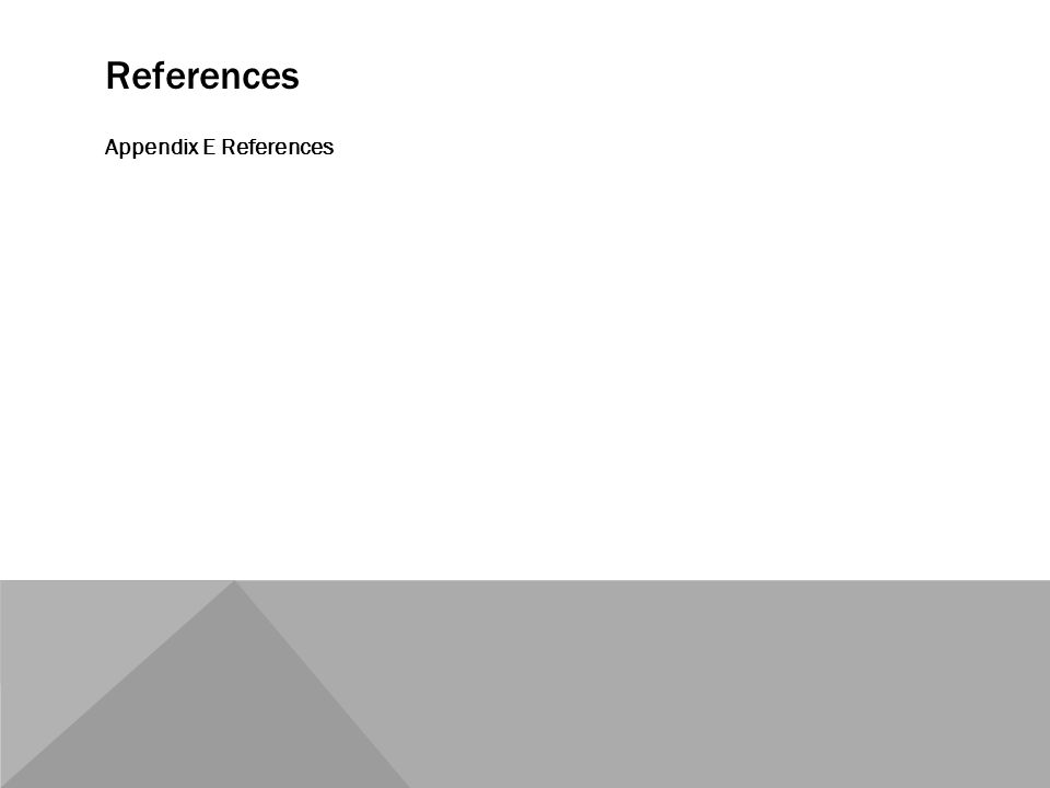 References Appendix E References