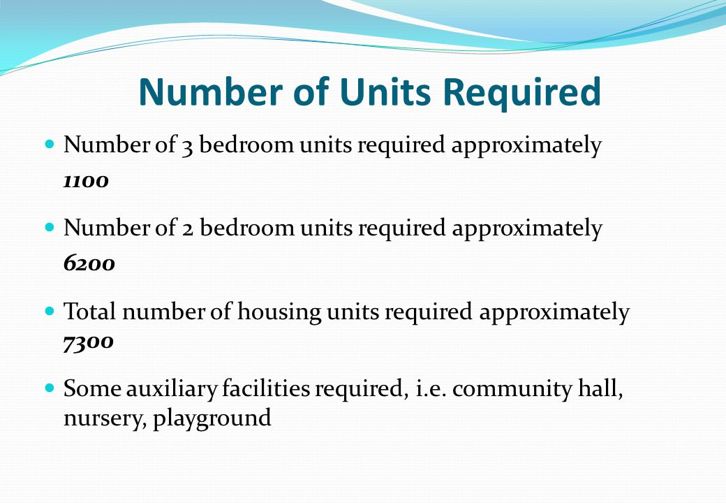 Number of Units Required Number of 3 bedroom units required approximately 1100 Number of 2 bedroom units required approximately 6200 Total number of housing units required approximately 7300 Some auxiliary facilities required, i.e.
