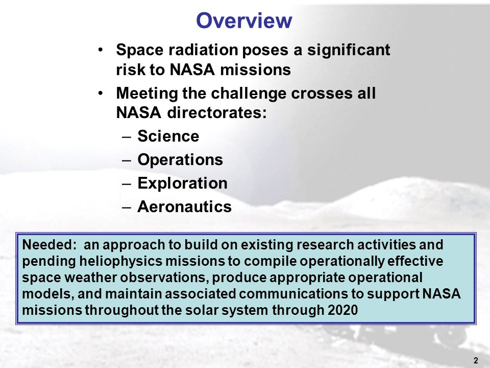 2 Overview Space radiation poses a significant risk to NASA missions Meeting the challenge crosses all NASA directorates: –Science –Operations –Exploration –Aeronautics Needed: an approach to build on existing research activities and pending heliophysics missions to compile operationally effective space weather observations, produce appropriate operational models, and maintain associated communications to support NASA missions throughout the solar system through 2020