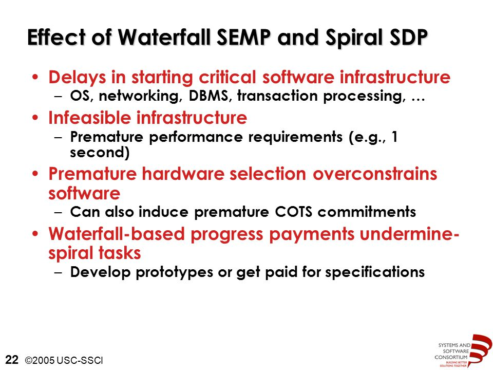©2005 USC-SSCI 22 Effect of Waterfall SEMP and Spiral SDP Delays in starting critical software infrastructure – OS, networking, DBMS, transaction processing, … Infeasible infrastructure – Premature performance requirements (e.g., 1 second) Premature hardware selection overconstrains software – Can also induce premature COTS commitments Waterfall-based progress payments undermine- spiral tasks – Develop prototypes or get paid for specifications