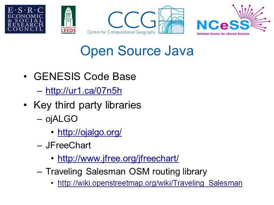 Open Source Java GENESIS Code Base –http://ur1.ca/07n5hhttp://ur1.ca/07n5h Key third party libraries –ojALGO http://ojalgo.org/ –JFreeChart http://www.jfree.org/jfreechart/ –Traveling Salesman OSM routing library http://wiki.openstreetmap.org/wiki/Traveling_Salesman