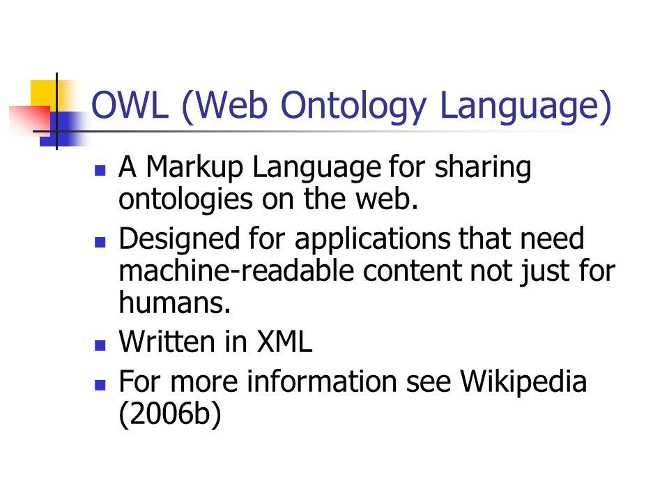 OWL (Web Ontology Language) A Markup Language for sharing ontologies on the web.