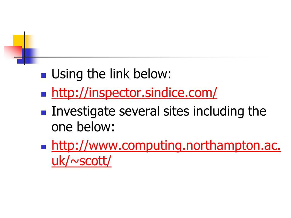 Using the link below: http://inspector.sindice.com/ Investigate several sites including the one below: http://www.computing.northampton.ac.