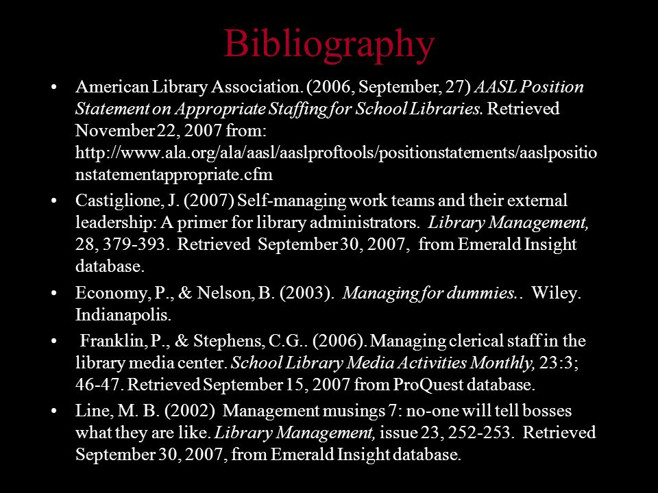 Bibliography American Library Association.