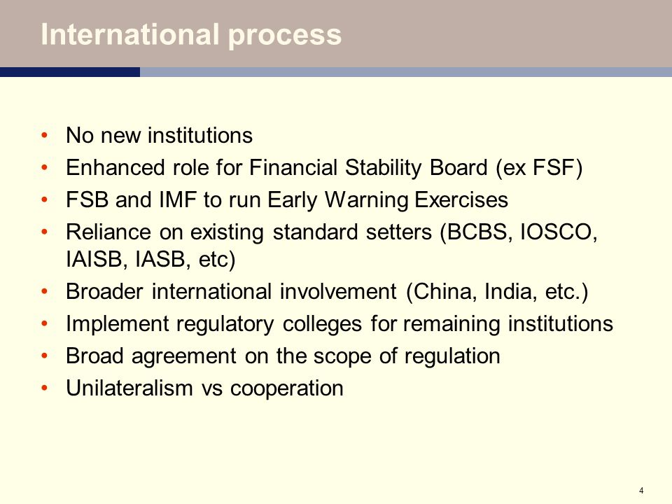 5 Changes to EU framework Process: de Larosière report February 2009 Turner report recommendations March Commission consultation Commission Communication (May 2009, consultation ends July) ECOFIN conclusions (9 June) Key elements: European Systemic Risk Board European System of Financial Supervision (ESFS) proposed timing: up and running 2010
