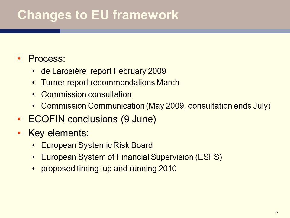 5 Changes to EU framework Process: de Larosière report February 2009 Turner report recommendations March Commission consultation Commission Communicat