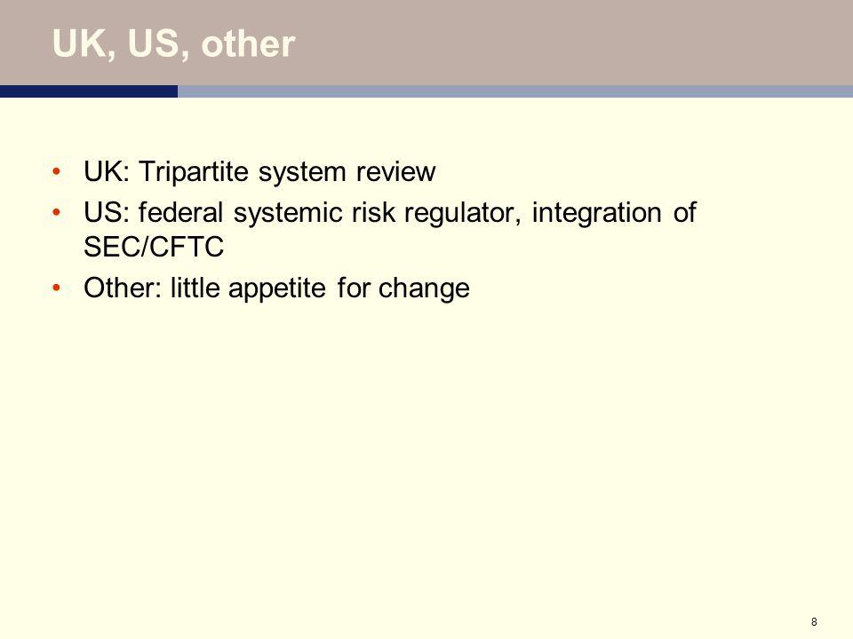 8 UK, US, other UK: Tripartite system review US: federal systemic risk regulator, integration of SEC/CFTC Other: little appetite for change
