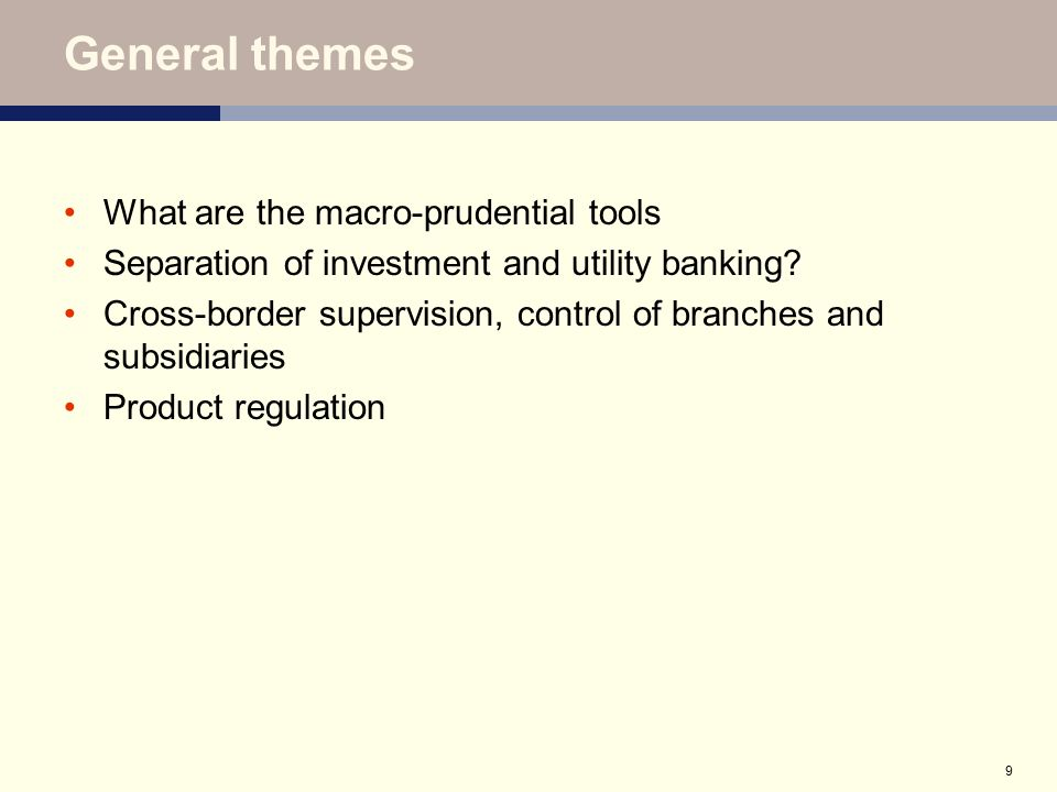 20 Scope of Regulation – shadow banking industry (cont.) Proposals include: regulation of firms conducting systemically important activities (substance over form) off balance sheet vehicles which create substantive economic risk should be treated as on-balance sheet for regulatory purposes increased regulatory reporting and provision of management information to enable supervisors to identify where a group is exposed to an unregulated activity (including reputational risks) regulated firms exposed to unregulated entities must monitor/assess implications of on and off balance sheet exposures to such entities de Larosière proposes the introduction of a formal authority to register hedge funds, assess their strategies, their methods and their leverage Proposed EU Directive on Alternative Investment Fund Managers