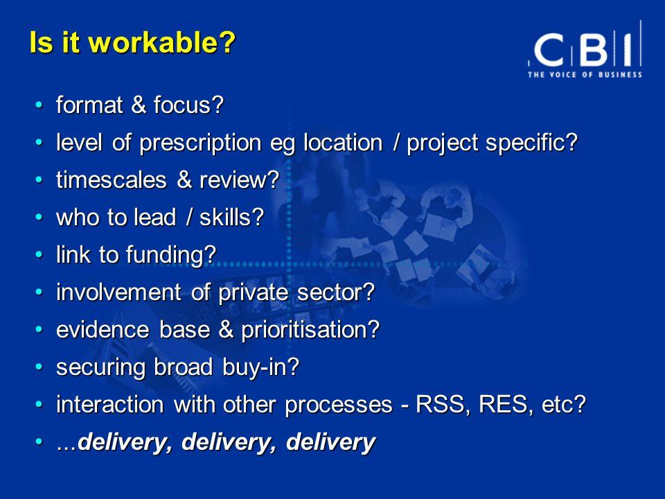 Is it workable? format & focus? format & focus? level of prescription eg location / project specific? level of prescription eg location / project spec