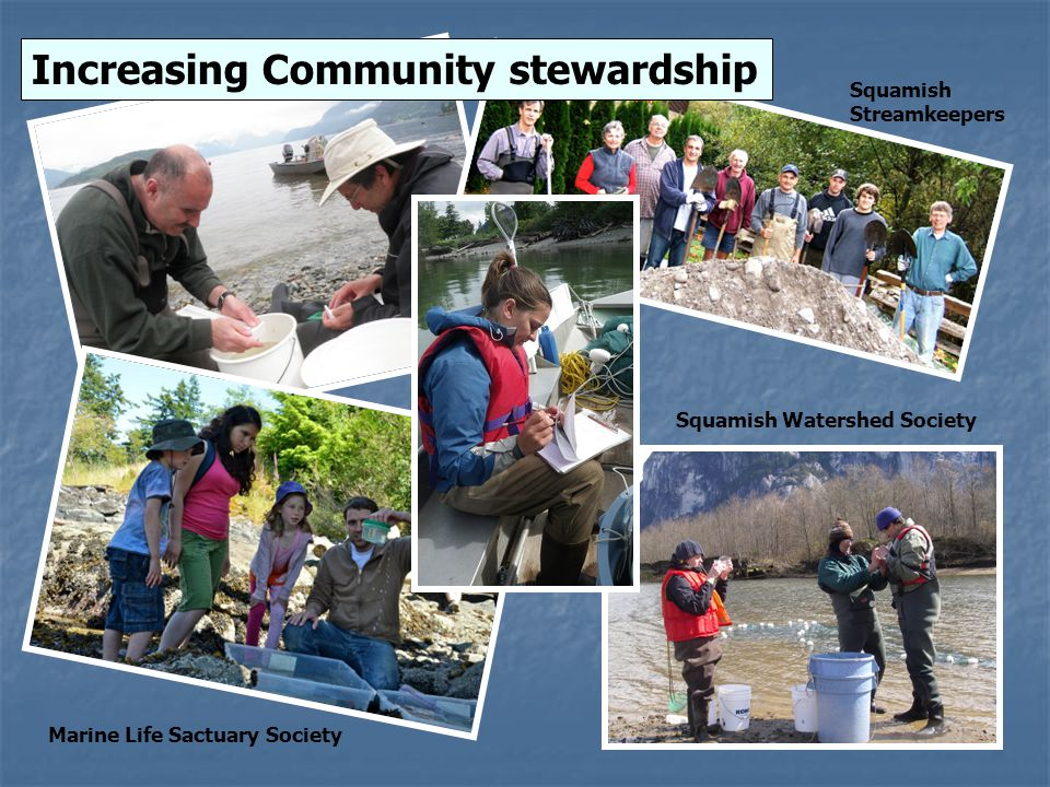 Increasing Community stewardship Squamish Streamkeepers Squamish Watershed Society Marine Life Sactuary Society
