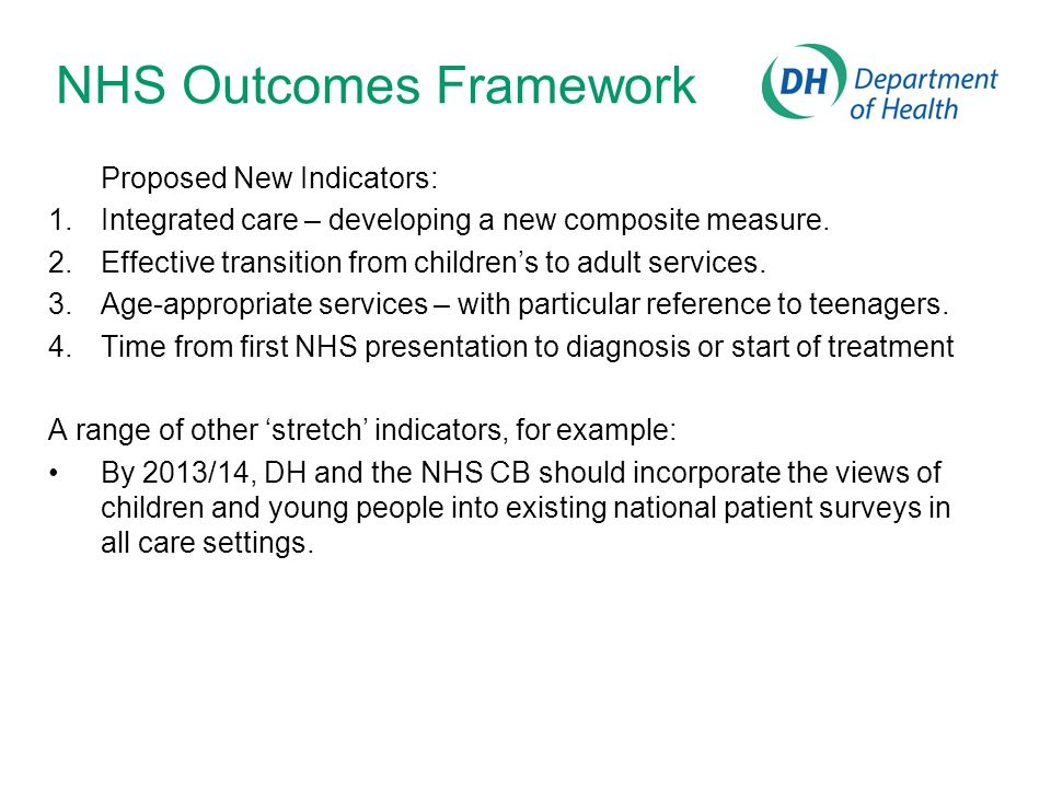NHS Outcomes Framework Proposed New Indicators: 1.Integrated care – developing a new composite measure.