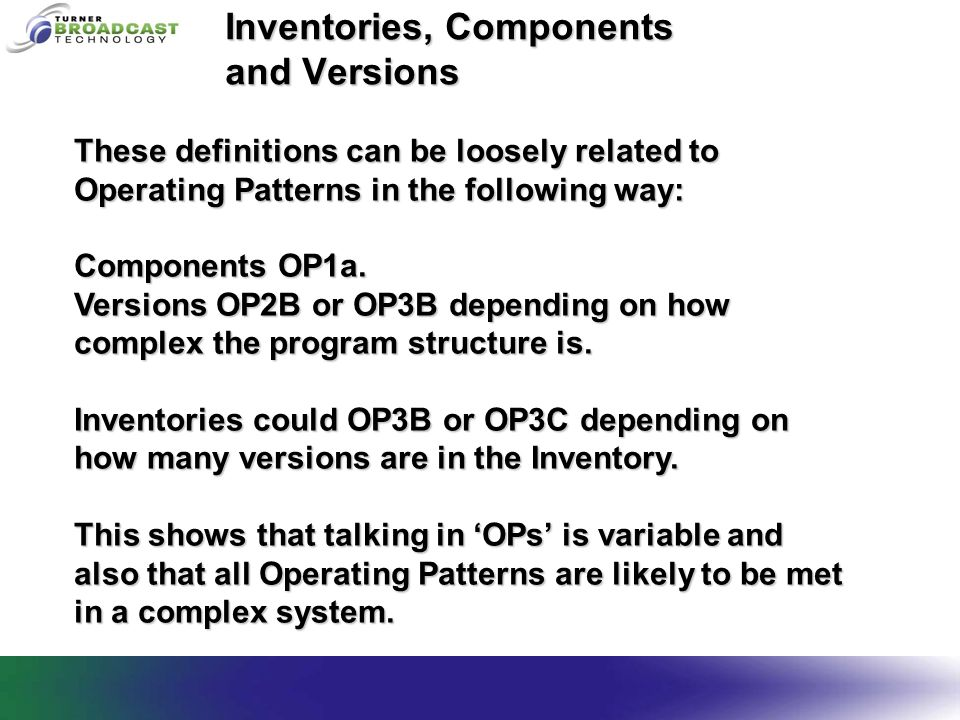 Inventories, Components and Versions These definitions can be loosely related to Operating Patterns in the following way: Components OP1a.