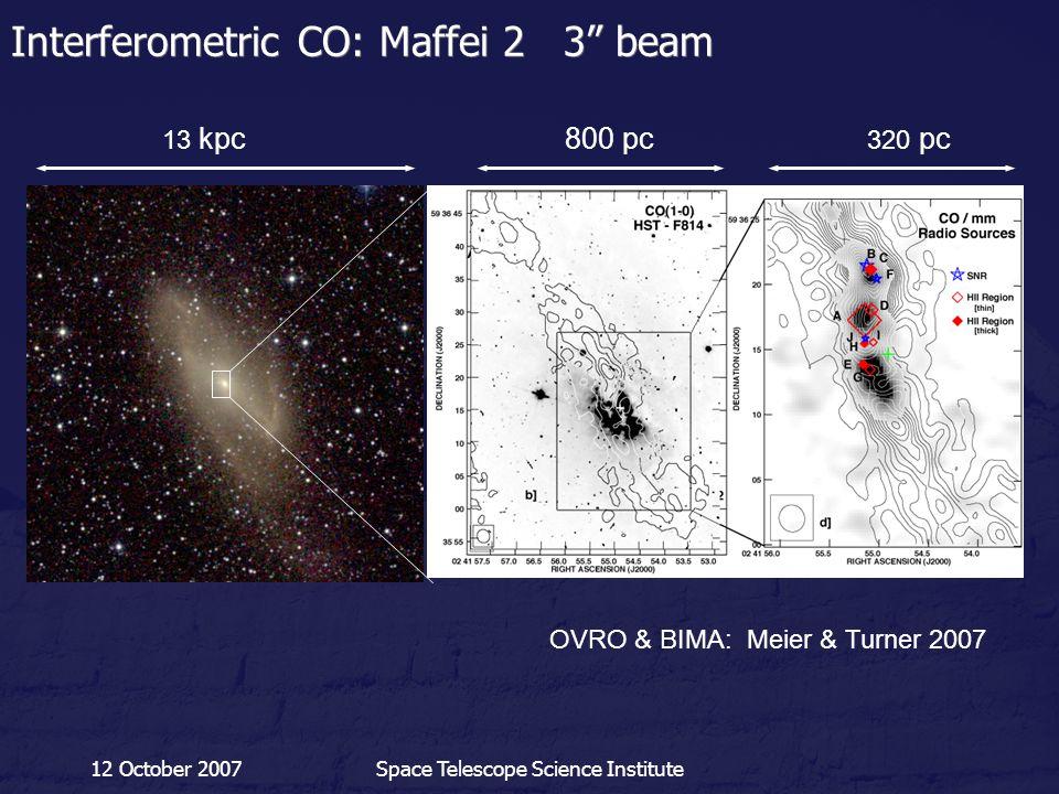 "12 October 2007Space Telescope Science Institute Interferometric CO: Maffei 2 3"" beam 13 kpc 800 pc 320 pc OVRO & BIMA: Meier & Turner 2007"